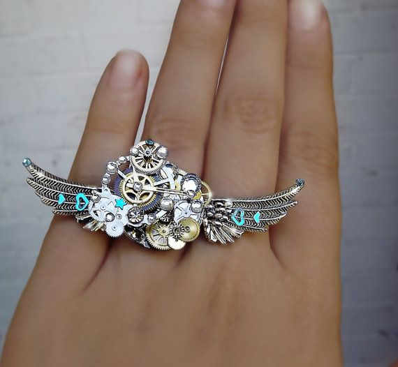 Steampunk ring silver steampunk Cinderella by CindersJewelryDesign