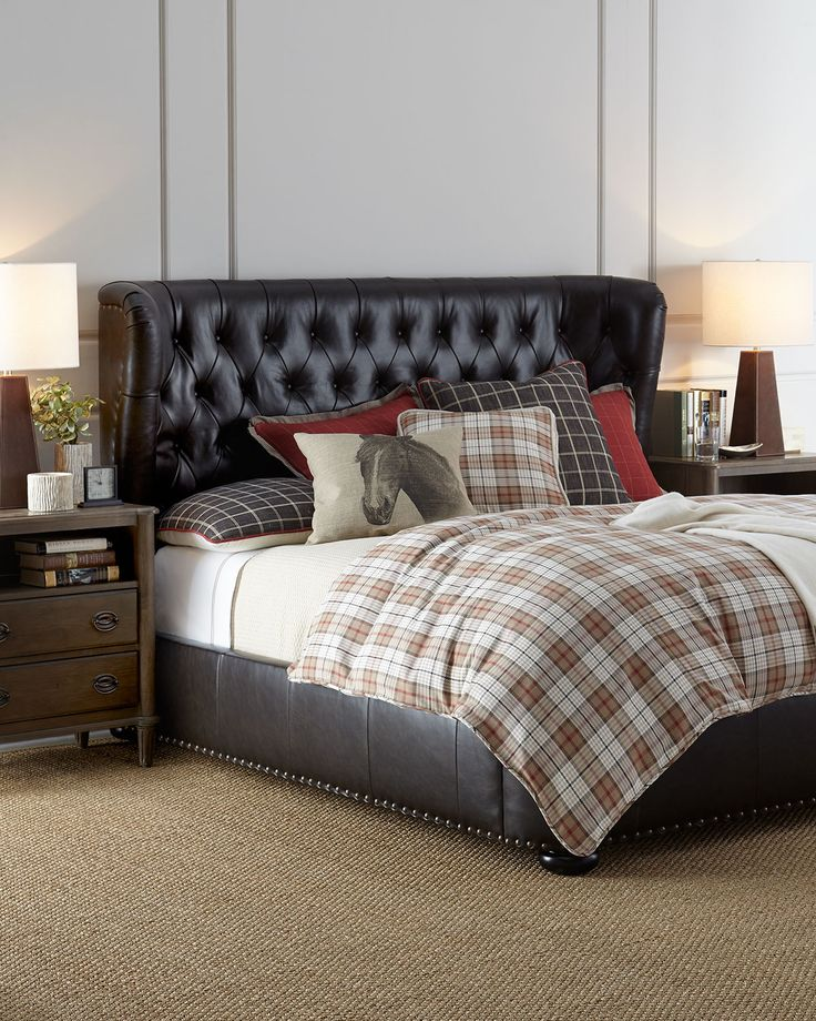 Gables Tufted Leather King Bed  Beds  Accessories