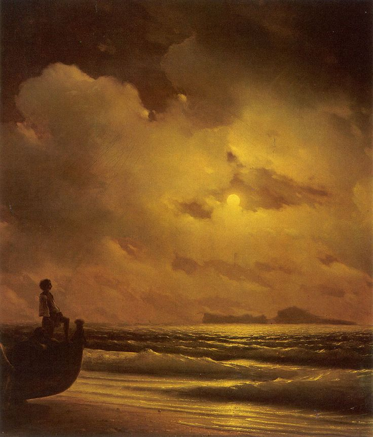 Ivan Konstantinovic Aivazovsky. On the Coast. Buy this painting as premium quality canvas art print from Modarty Art Gallery. #art, #canvas, #design, #painting, #print, #poster, #decoration