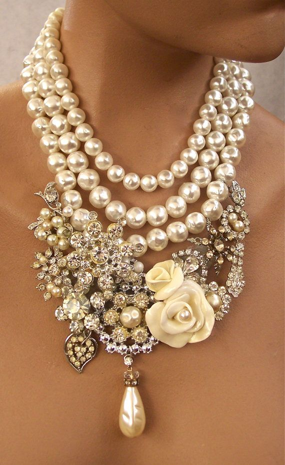 Vintage  Rhinestone Necklace  with Cream by secondlookjewelry, $265.00 - I'm only pinning for inspiration