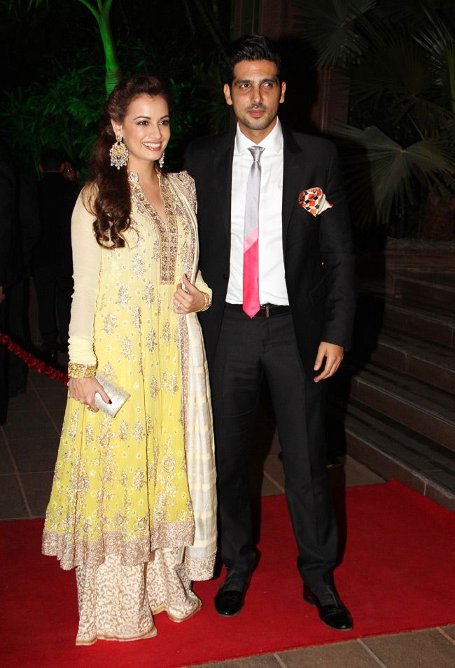 Dia Mirza poses with Zayed Khan at Arpita Khan's wedding reception in Mumbai. #Bollywood #Fashion #Style #Beauty #Handsome