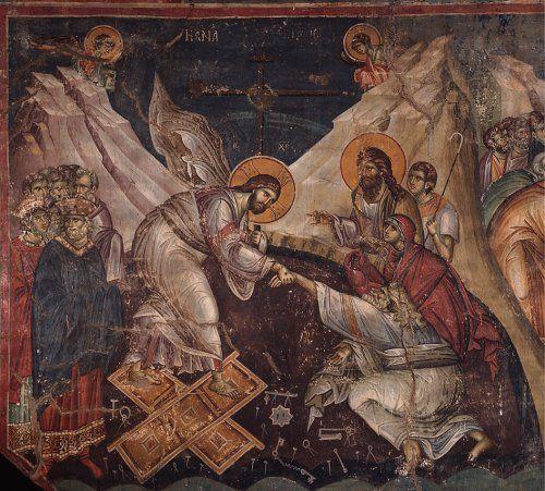 Ανάσταση (1300 ) Μανουήλ Πανσέληνος Τα μόνα εναπομένοντα έργα τέχνης σε τοιχογραφίες του Μανουήλ Πανσέληνου (13ος αιώνας), βρίσκονται στην εκκλησία του Πρωτάτου (του 10ου αιώνα),Καρυές Αγίου Όρους.
