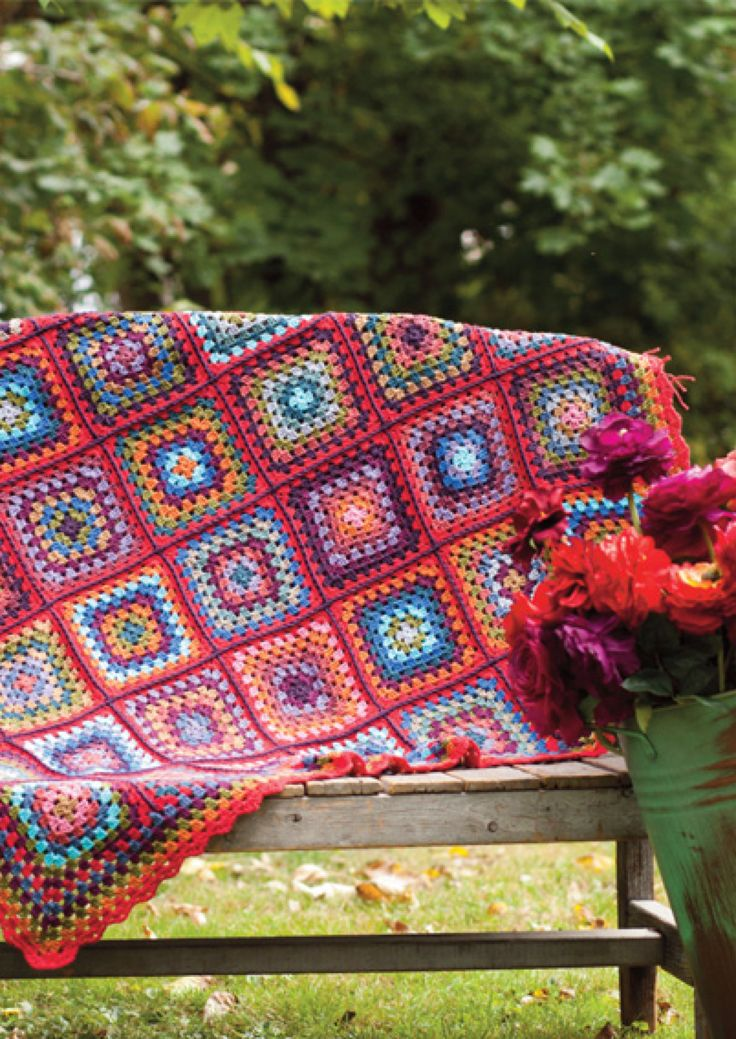 Kaffe Fassett (fabric designer) brings one of his bold color palettes to crochet