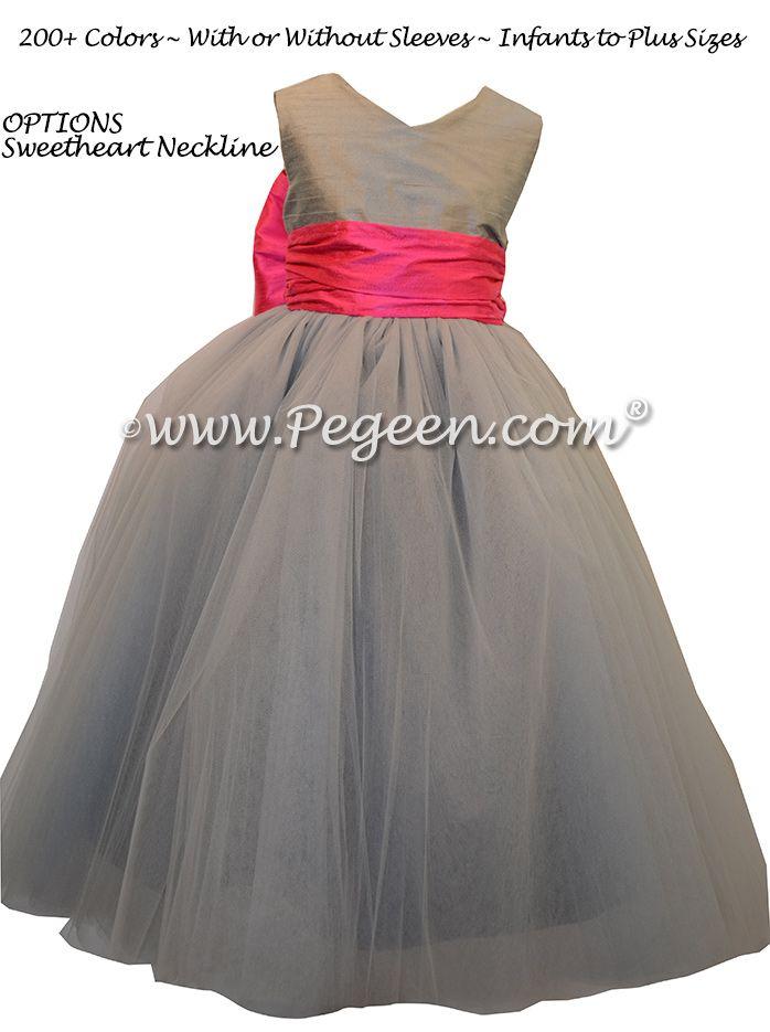 Best 231 gray flower girl dresses images on pinterest dresses for morning gray and shock pink silk flower girl dresses by pegeen mightylinksfo