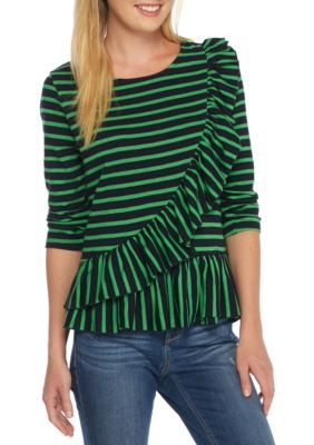 Crown & Ivy™ Women's Asymmetrical Ruffle Trim Top - Green/Ivry - Xs