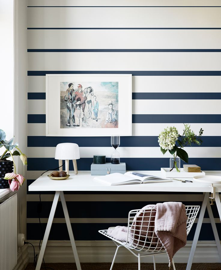 10 Striped Wallpaper Design Ideas - Gradually narrowing stripes, just like with the Fjordbyen design, is a perfect way to add visual height and interest to a smaller space.