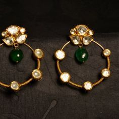 Versatile pair of kundan earrings in 22k gold, incorporating uncut diamonds and emeralds, may be worn with or without the hoops to suit the ...