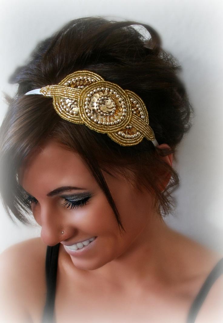 A little puff of an updo with Gold Art Deco Beaded Sequin Headband