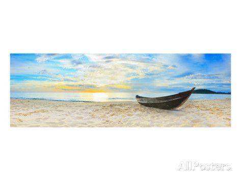 Fisherman Boat Beach Panorama Kunstdruk