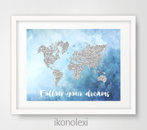 Mejores 68 imgenes de ikonolexi world maps en pinterest silver glitter world map art print follow your dreams world map printable art blue watercolor map world map poster boys room decor gumiabroncs Choice Image
