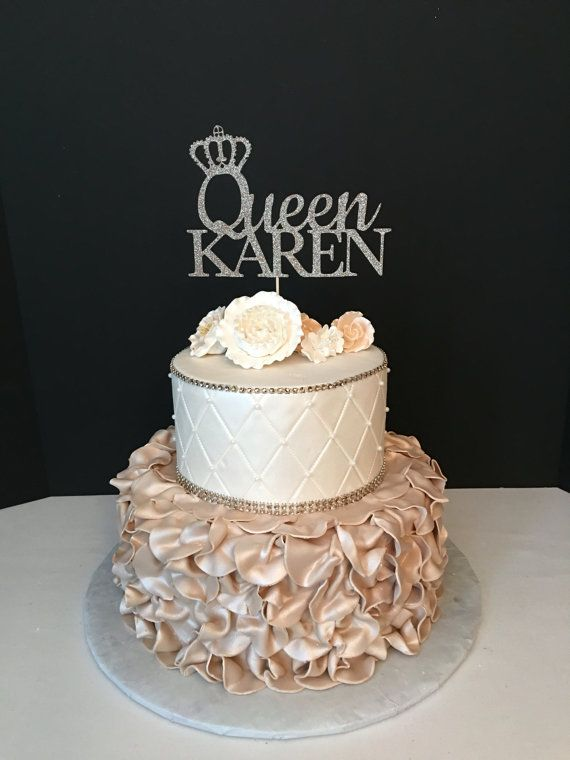 Queen Birthday Topper Gold Glitter Personalized Cake