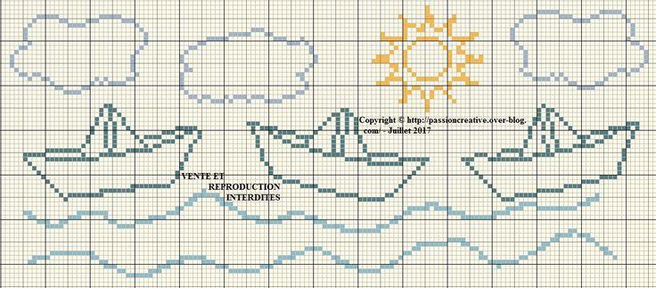 Grille gratuite point de croix : Bavoir petits bateaux