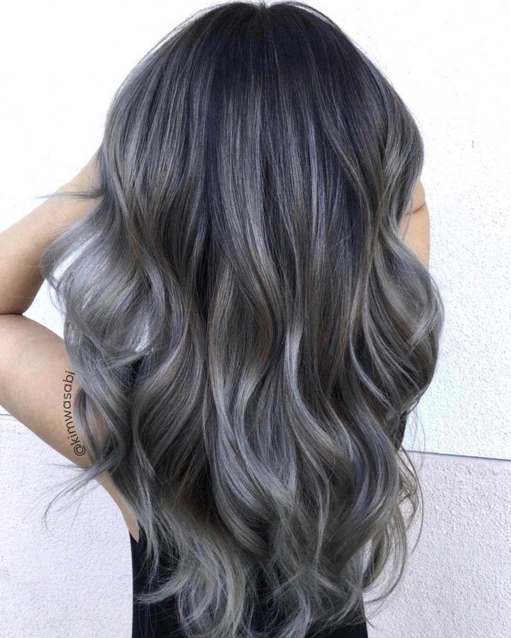 Hair Color Ideas 2020 Ash Ash grey balayage. | 2020 | Charcoal hair, Balayage hair grey