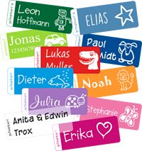Kleine Namensaufkleber (2. Mädchen Set: 50 weiß bedruckte Etiketten in den Farben hellrosa (20x), dunkelrosa (20x) und lavendel (10x).)