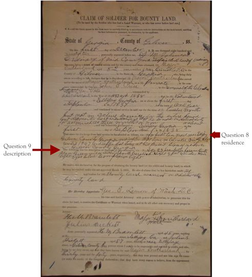 Claim of Soldier for Bounty Land | genealogy record listing place of birth, age, military service, and more