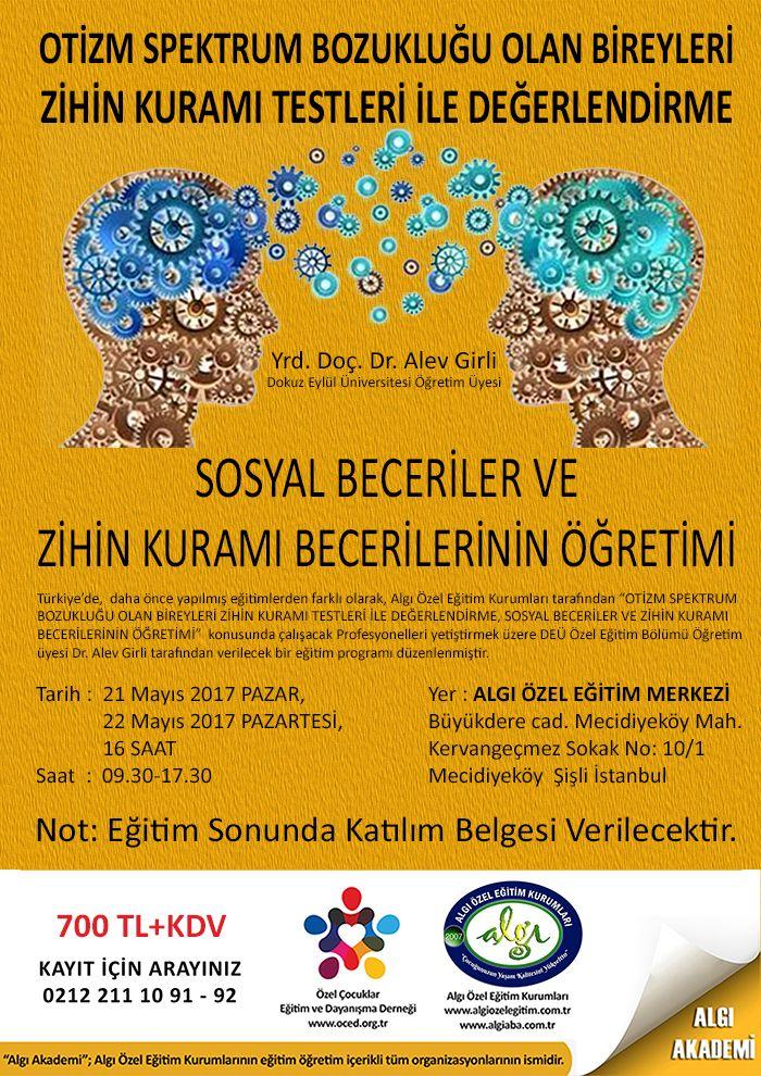 """Türkiye'de, daha önce yapılmış eğitimlerden farklı olarak, Algı Özel Eğitim Kurumları tarafından """"OTİZM SPEKTRUM BOZUKLUĞU OLAN BİREYLERİ ZİHİN KURAMI TESTLERİ İLE DEĞERLENDİRME, SOSYAL BECERİLER VE ZİHİN KURAMI BECERİLERİNİN ÖĞRETİMİ"""" konusunda çalışacak profesyonelleri yetiştirmek üzere DEÜ Özel Eğitim Bölümü Öğretim üyesi Dr. Alev Girli tarafından verilecek bir eğitim programı düzenlenmiştir. Sınırlı sayıda kontenjan olduğundan, katılım için tıklayınız."""