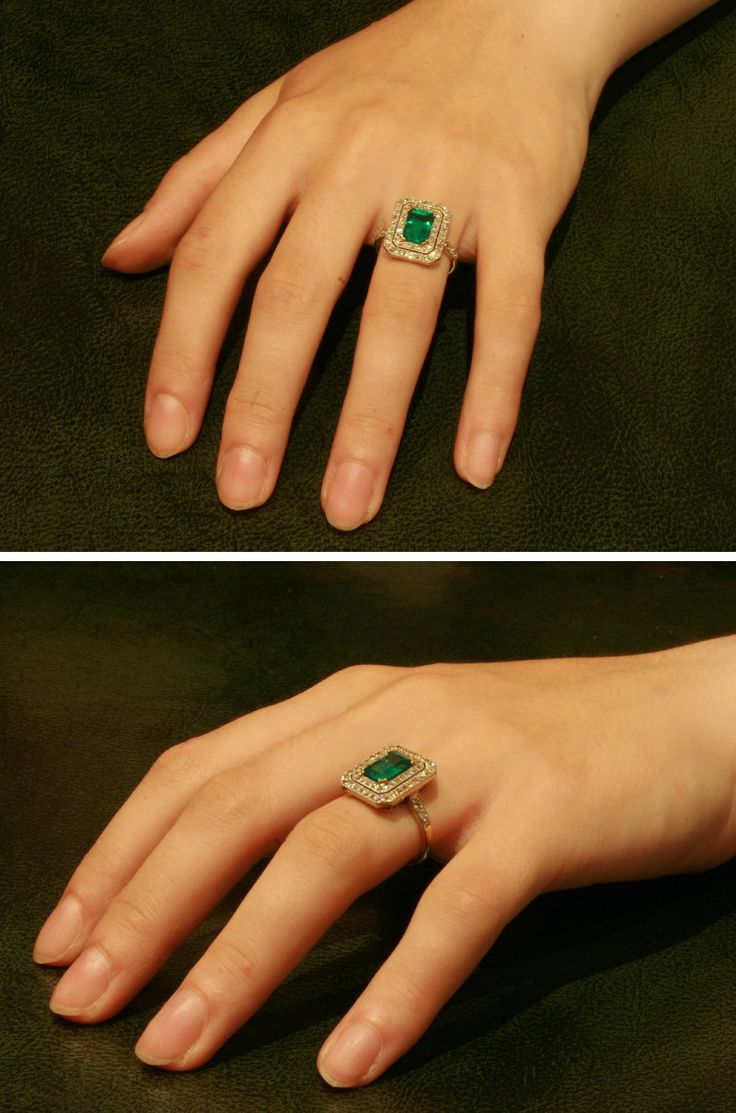 Colombian emerald ring diamond Art Deco jewelry.