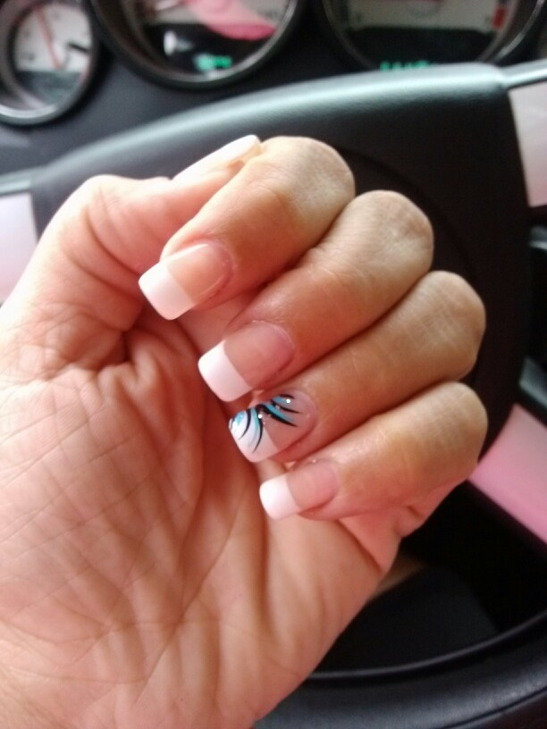 My Nails! French Tip Nails With one finger design (turquoise, silver, and - 17 Best Nails Images On Pinterest French Manicures, French Tips