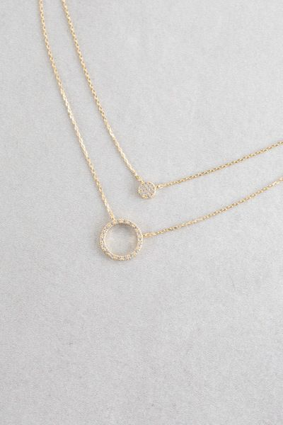 Double layered circle pavé stone necklace.