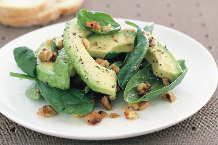 Avo, spin & walnut - Four simple ingredients is all it takes to create this nutritious avocado side salad.