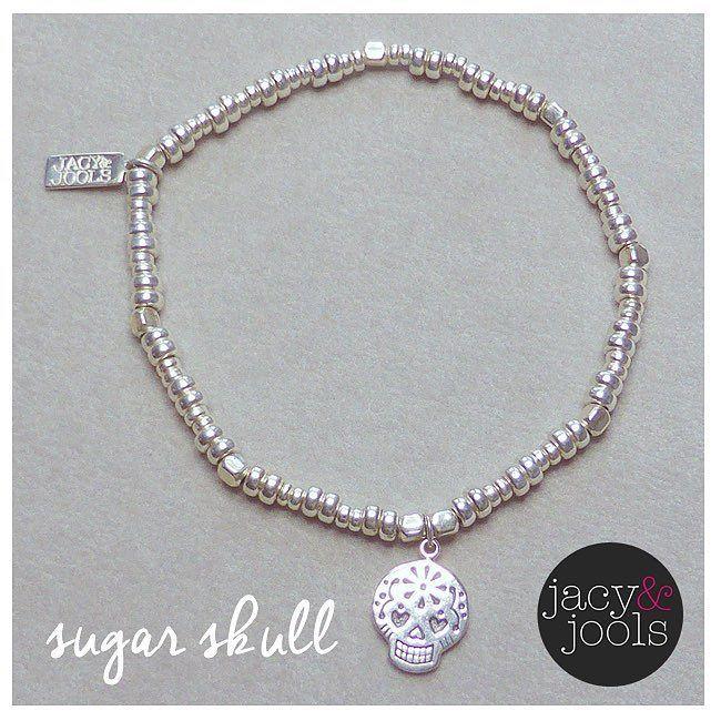 Our sterling silver bolt bracelet with adorable sugar skull  #bracelet #cute #sugarskull #sterlingsilver #jewellery #skull #charm #stackingbracelets #jacyandjools #peaceandlove #Altrincham #Cheshire #online