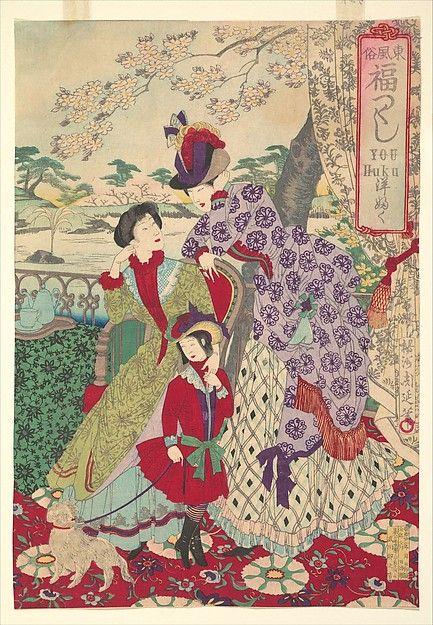 『東風俗福づくし 洋 ふく』 Western Clothing from the series An Array of Auspicious Customs of Eastern Japan (Azuma fūzoku, fukuzukushi-Yōfuku) Artist: Yōshū (Hashimoto) Chikanobu (1838–1912), Meiji period (1868–1912), 1889, Triptych of polychrome woodblock prints; ink and color on paper