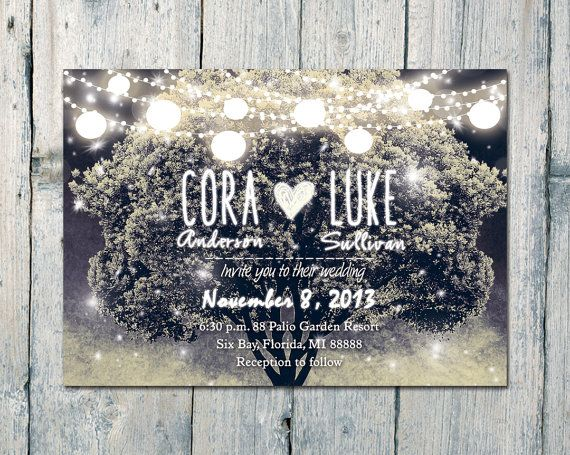 #Tree #Lights and Blissful #Night  #wedding #invitation #card by WeddingSundaeShop