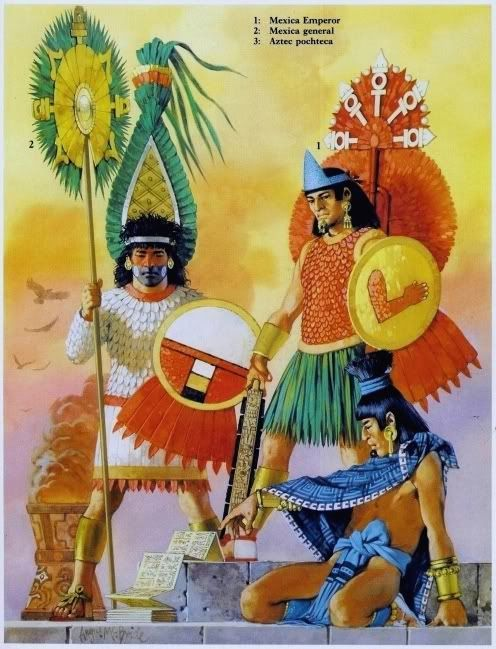 "Aztec Emperor (Huey Tlatoani), pochteca Source: Osprey Military Men-At Arms series ""Aztec, Mixtec and Zapotec Armies"" by John Pohl. Illustrator: Angus McBride"