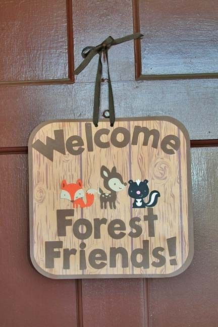 WOODLAND CREATURES PARTY Baby Shower Banner with Fox, Owl, Deer, Hedgehog. $18.00, via Etsy.