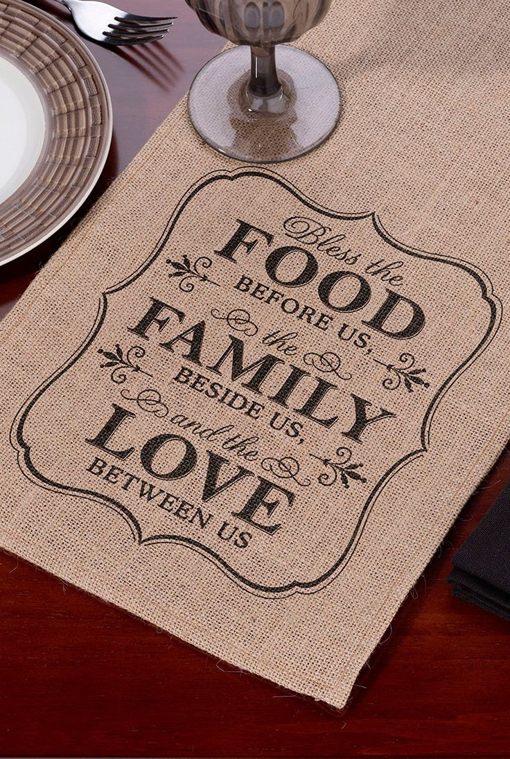 Bamboo black table runner 72 inches checkered kitchen linen dining - 84 Inch Food Family Love Burlap Table Runner