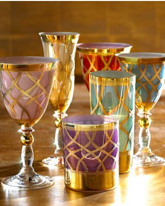 ingridrichter:    The Horchow Collection multicolor drinkware.