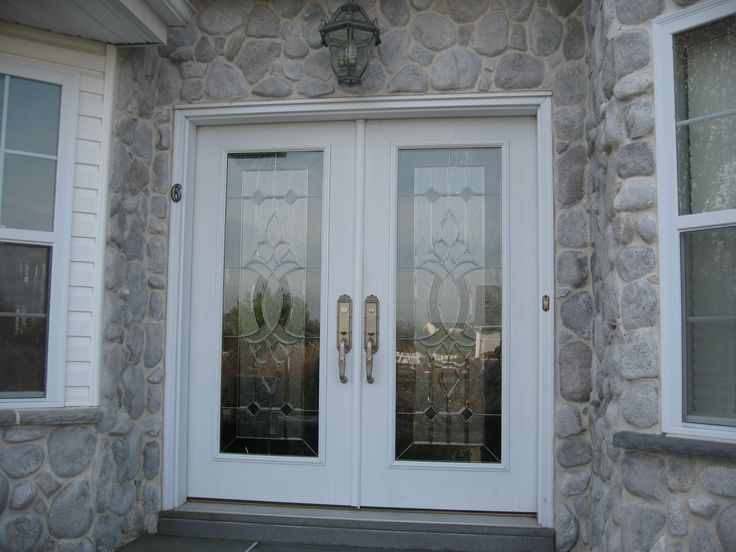 Double Royal Entry Door In White With Designer Gl