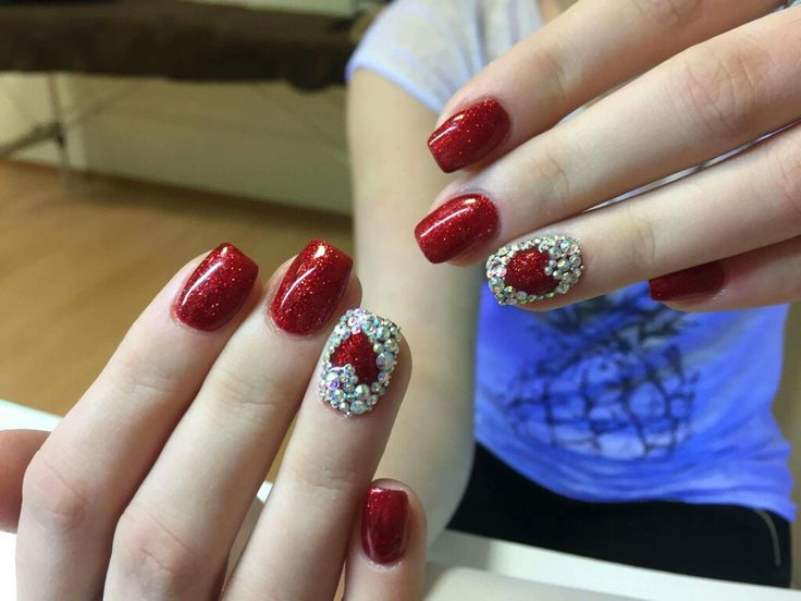 Heart nails #red #heart #sparkly