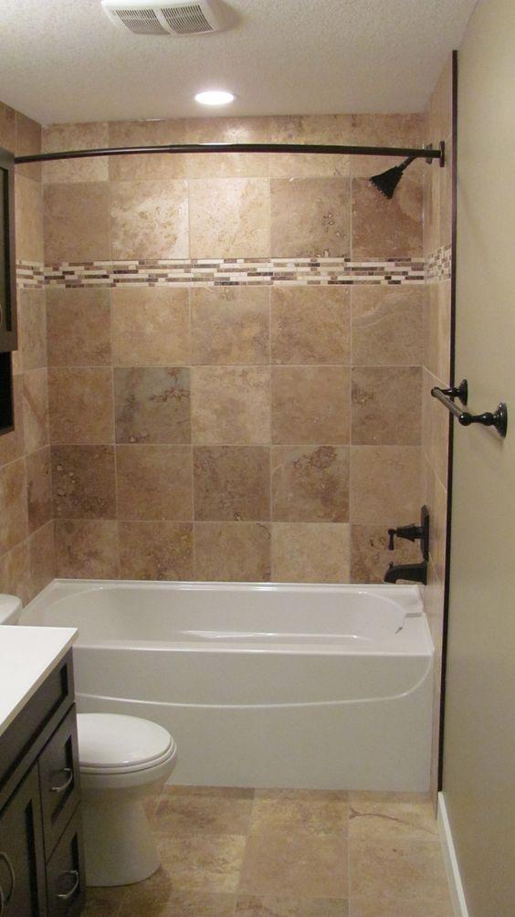 Bathroom, : Good Looking Brown Tiled Bath Surround For Small Bathroom Decoratoin