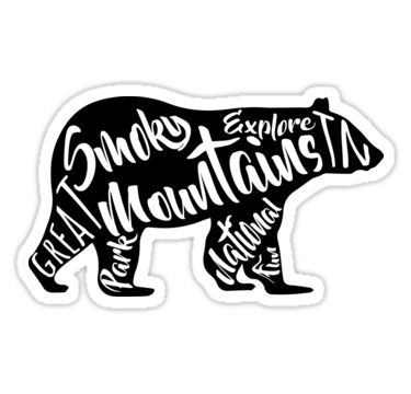 SMOKY MOUNTAINS NATIONAL PARK BEAR TYPOGRAPHY SILHOUETTE TENNESSEE SMOKIES • Also buy this artwork on stickers, apparel, phone cases, and more.