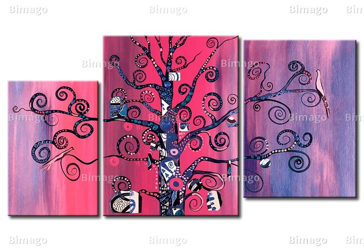Quadro L'ametista  // Klimt inspired canvas art, paiting in purple and pink colors, tree with birds