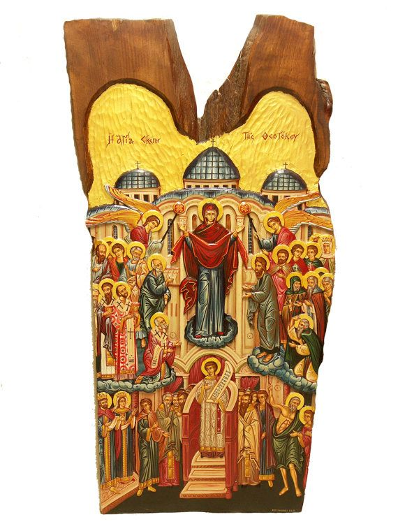 Hand-painted Icon on Wood in Traditional Style of The by BYZANTINO
