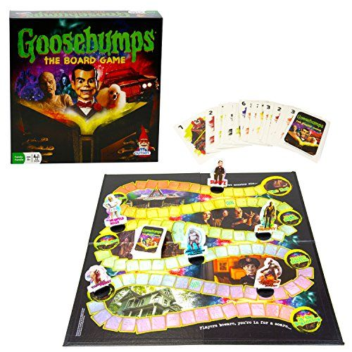 Party Game - Goosebumps the Board Game    Monster Mayhem in Madison    All of R.L. Stine's monsters have escaped from his manuscripts and are roaming the streets of Madison. None of them want to go back... including you!     In Goosebumps the Board Game everyone plays as their favorite monster. Players battle each other in a frantic race along a trail of mayhem and manuscripts, trying to reach the typewriter before it sends them away for good! Only the first monster to reach the typewriter…