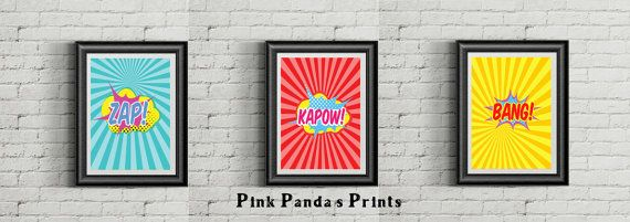 Bang! Kapow! Zap! These are vibrant and fun prints to add to a childs bedroom or maybe even the man cave. set of 3 prints for $25 8 x 10