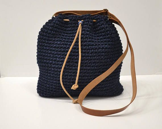 Dark Blue Crochet crossbody bag Bucket bag Drawstring bag