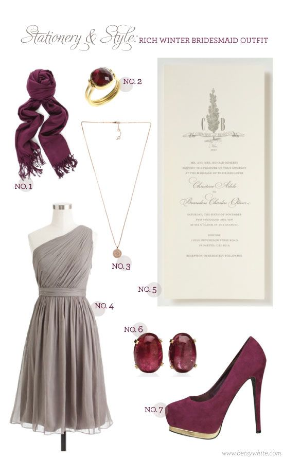 Stationery & Style: Rich Winter Bridesmaid Outfit #weddinginvitations #bridesmaids