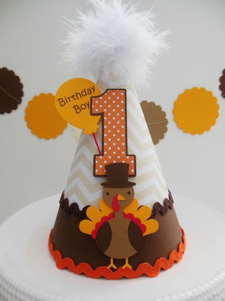 Lil' Chevron Turkey Day - Thanksgiving Birthday Party Hat - Personalized by SandysSpecialtyShop on Etsy https://www.etsy.com/listing/199002695/lil-chevron-turkey-day-thanksgiving