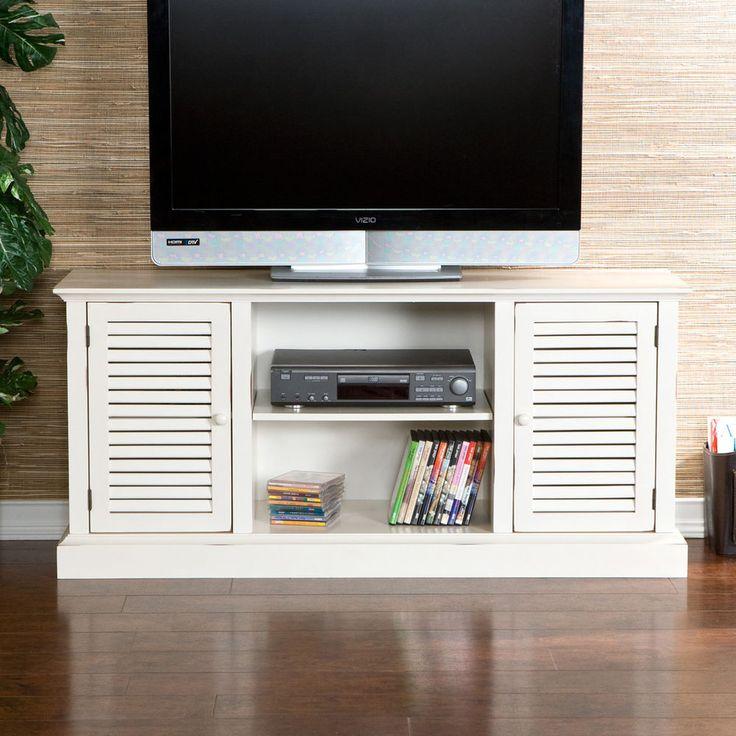 Mockingbird Antique White Media Stand TV Storage Console Center Furniture Flat