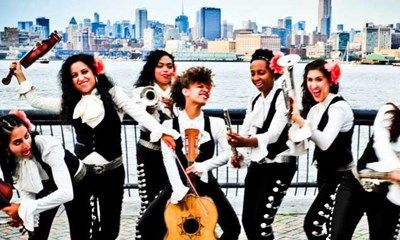Flor de Toloache, New York City's only all-female mariachi band, will give a free concert today from 10:40 to 11:30 under the bridge between UC & UC East.