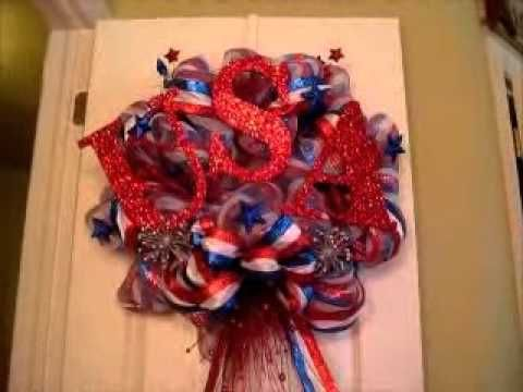 AMAZING Fourth of July Deco Mesh Wreath. Follow this lady ...