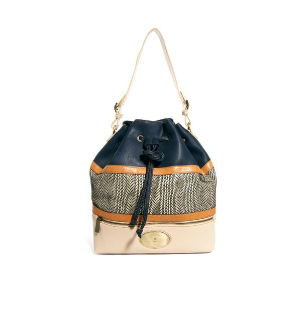 Grand sac seau en coton et similicuir bleu, Fiorelli