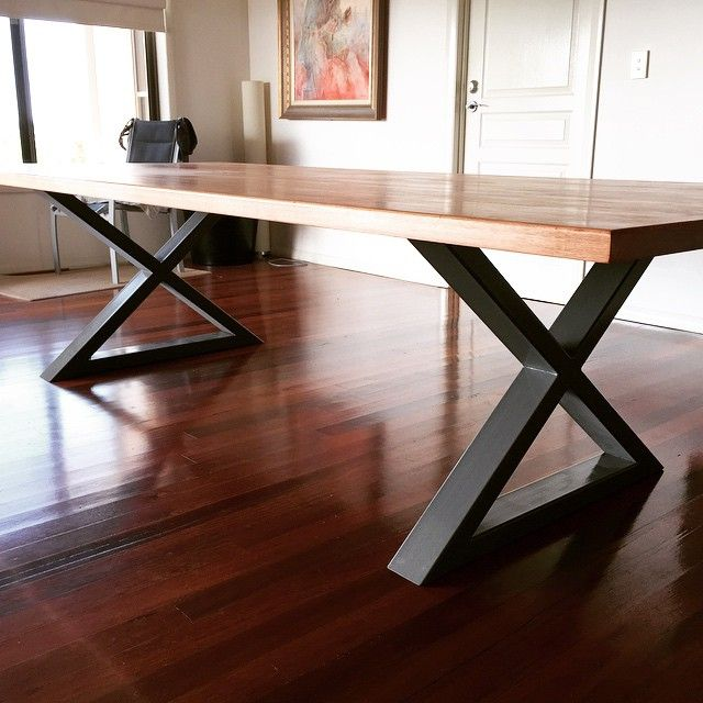 Another custom ordered dining table with our Crossed legs matched with a Rose Gum table top! #handbuiltco #handmade #buylocal #goldcoast