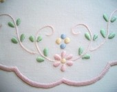 Linen Doily with Pastel Flowers Hand Embroidery One of a Kind