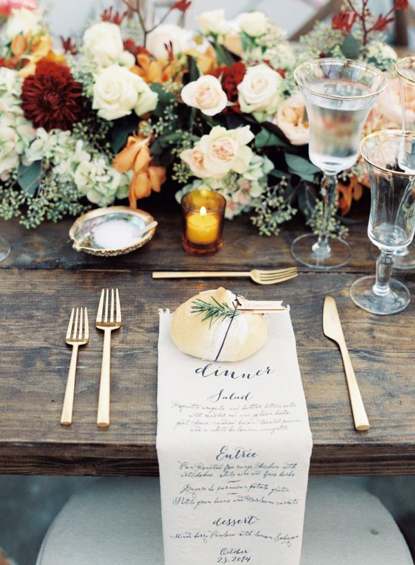 fall table setting - photo by Austin Gros http://ruffledblog.com/elegant-nashville-fall-wedding