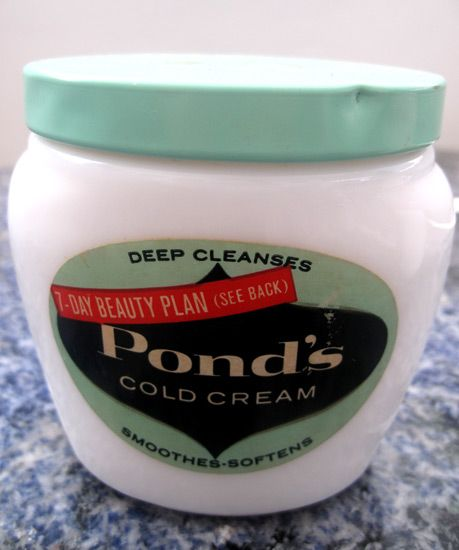 pond's cold cream - every lady had one jar at least in her bathroom cupboard or on her vanity dresser.